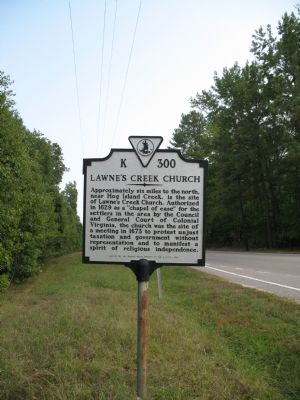 Lawne's Creek Church Marker image. Click for full size.
