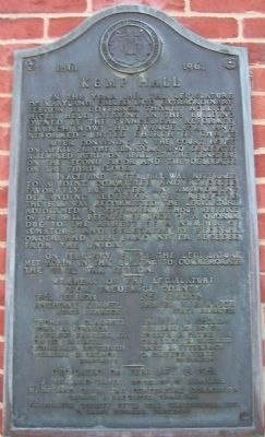 Kemp Hall Marker image. Click for full size.