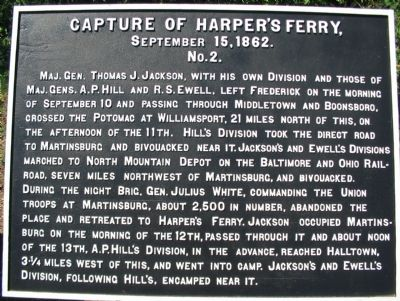 Capture of Harpers Ferry (War Department Tablet No. 2) Marker image. Click for full size.