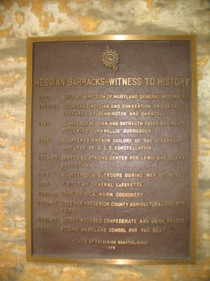 Hessian Barracks - Witness to History Marker image. Click for full size.
