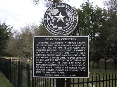 Champion Cemetery Marker image. Click for full size.