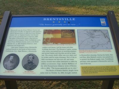 Brentsville - <i>&#8221;The houses generally are in ruin …&#8221;</i> Marker image. Click for full size.