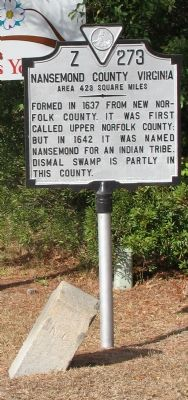 Nansemond County Virginia Marker (south side) image. Click for full size.