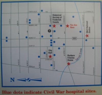 Map Showing Locations of Civil War Hopsitals in Frederick image. Click for full size.