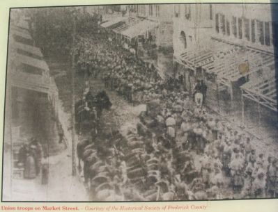 Close Up of Union Troops Passing through Frederick Photo image. Click for full size.