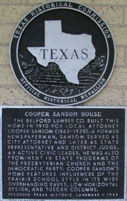 Cooper Sansom House Marker image. Click for full size.