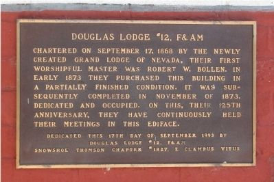 Douglas Lodge #12, F& AM Marker image. Click for full size.
