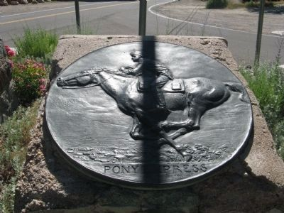 Pony Express Trail Logo Mounted on Marker Base image. Click for full size.
