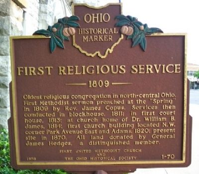 First Religious Service Marker image. Click for full size.