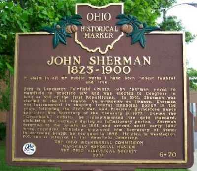 John Sherman, 1823-1900 Marker (Side A) image. Click for full size.