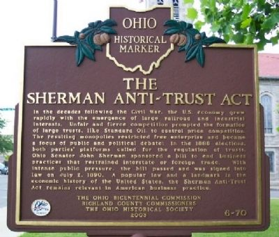 The Sherman Anti-Trust Act Marker (Side B) image. Click for full size.