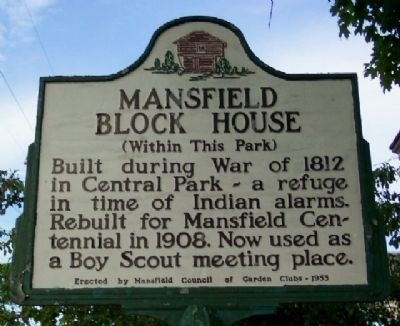 Mansfield Block House Marker image. Click for full size.