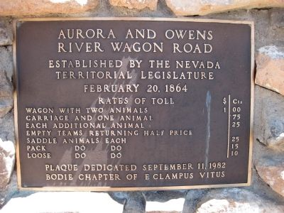Aurora and Owens River Wagon Road Marker image. Click for full size.