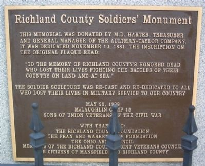 Richland County Soldiers' Monument Marker image. Click for full size.