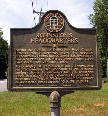 Johnston's Headquarters Marker image. Click for full size.