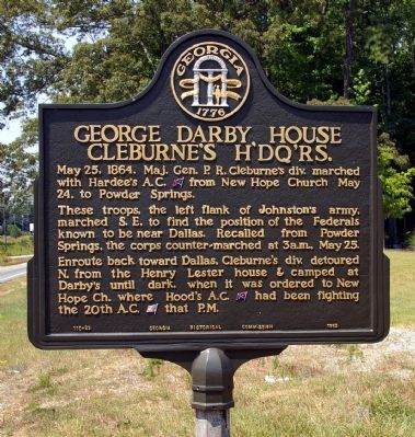 George Darby House Cleburne's H'dq'rs. Marker image. Click for full size.