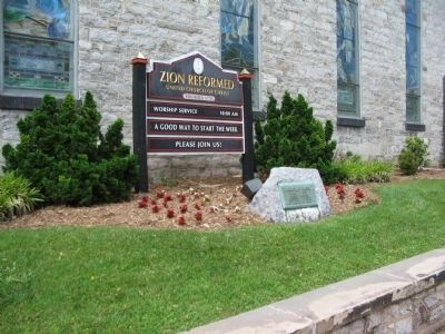 Marker in front of the Zion Evangelical and Reformed Church image. Click for full size.