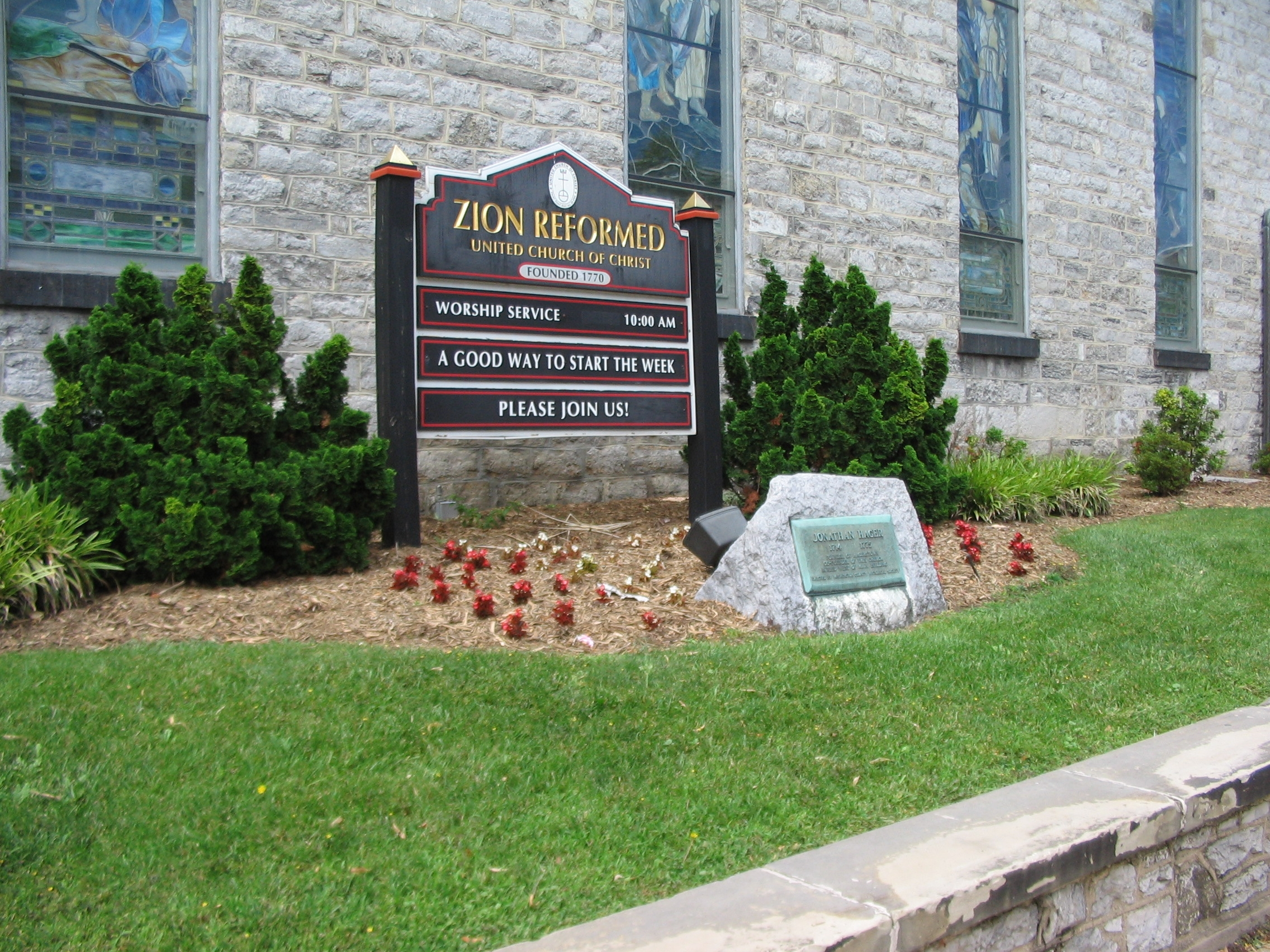 Marker in front of the Zion Evangelical and Reformed Church