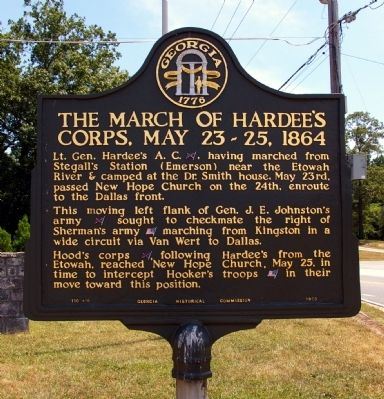 The March of Hardee's Corps, May 23-25, 1864 Marker image. Click for full size.