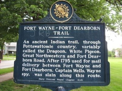 Fort Wayne ~ Fort Dearborn Trail Marker image. Click for full size.
