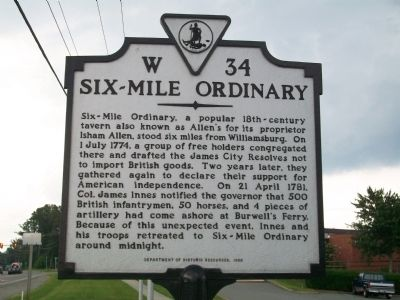 Six-Mile Ordinary Marker image. Click for full size.