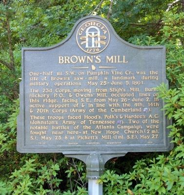 Brown's Mill Marker image. Click for full size.