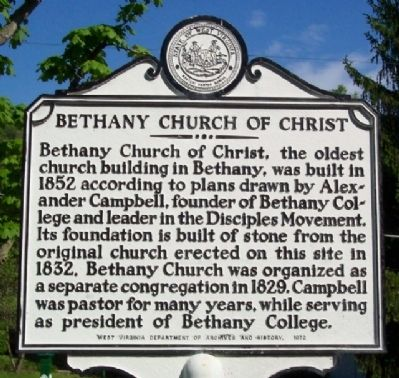 Bethany Church of Christ Marker image. Click for full size.