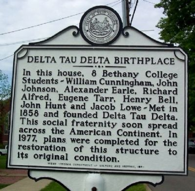 Delta Tau Delta Birthplace Marker image. Click for full size.