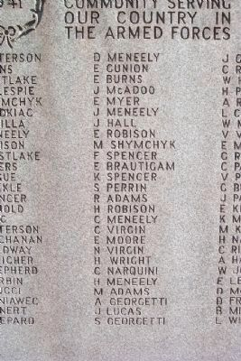 Independence World War II Honor Roll - Center Column image. Click for full size.