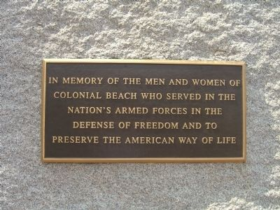 Colonial Beach Roll of Honor Marker </b>(reverse) image. Click for full size.