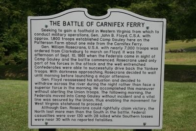 The Battle of Carnifex Ferry Marker image. Click for full size.