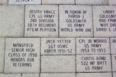 Richland County Korean War Memorial Sample Pavers image. Click for full size.