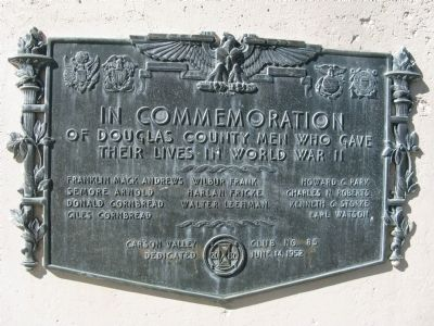 Douglas County World War II Memorial Marker image. Click for full size.