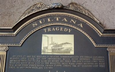 Sultana Tragedy Marker Detail image. Click for full size.