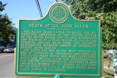 Death of Col. John Allen Marker image. Click for full size.
