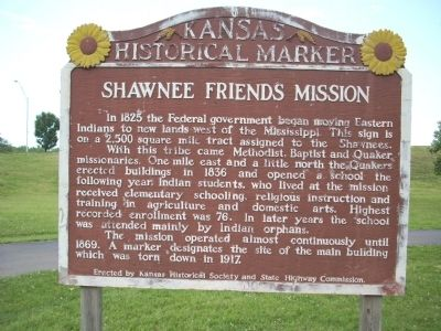 Shawnee Friends Mission Marker image. Click for full size.