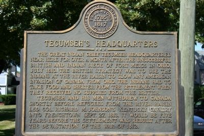 Tecumseh's Headquarters Marker image. Click for full size.