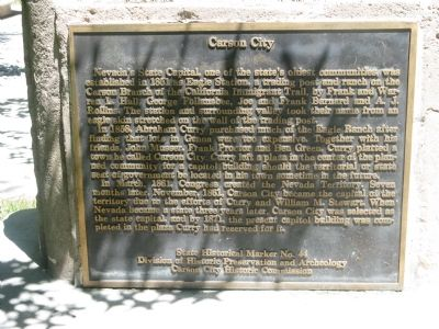 Carson City Marker image. Click for full size.