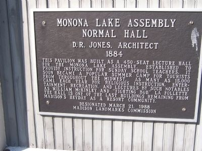 Marker for Monona Lake Normal Assembly Hall at Olin-Turville Park image. Click for full size.