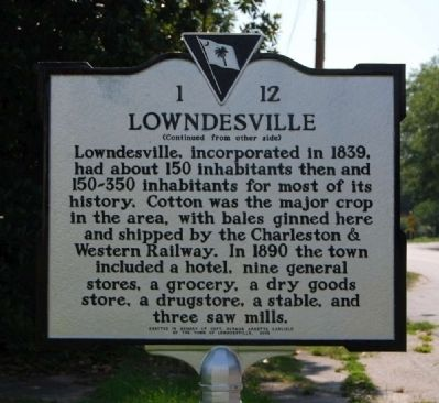 Lowndesville Marker - Reverse image. Click for full size.