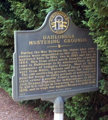 Dahlonega Mustering Grounds Marker image. Click for full size.