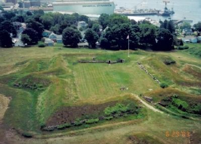 Fort Griswold from the top of Monument image. Click for full size.