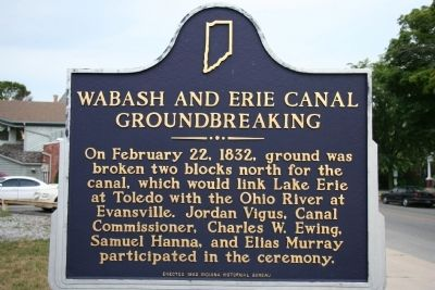 Wabash and Erie Canal Groundbreaking Marker image. Click for full size.