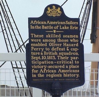 African American Sailors in the Battle of Lake Erie Marker image. Click for full size.