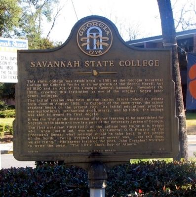Savannah State College Marker image. Click for full size.
