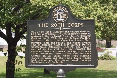 The 20th Corps Marker image. Click for full size.
