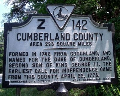 Cumberland County Marker image. Click for full size.
