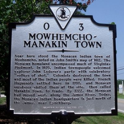 Mowhemcho-Manakin Town Marker image. Click for full size.