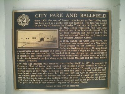 City Park and Ballfield Marker image. Click for full size.