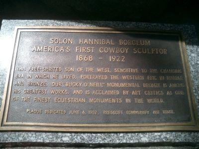 Solon Hannibal Borglum America's First Cowboy Sculptor Marker image. Click for full size.